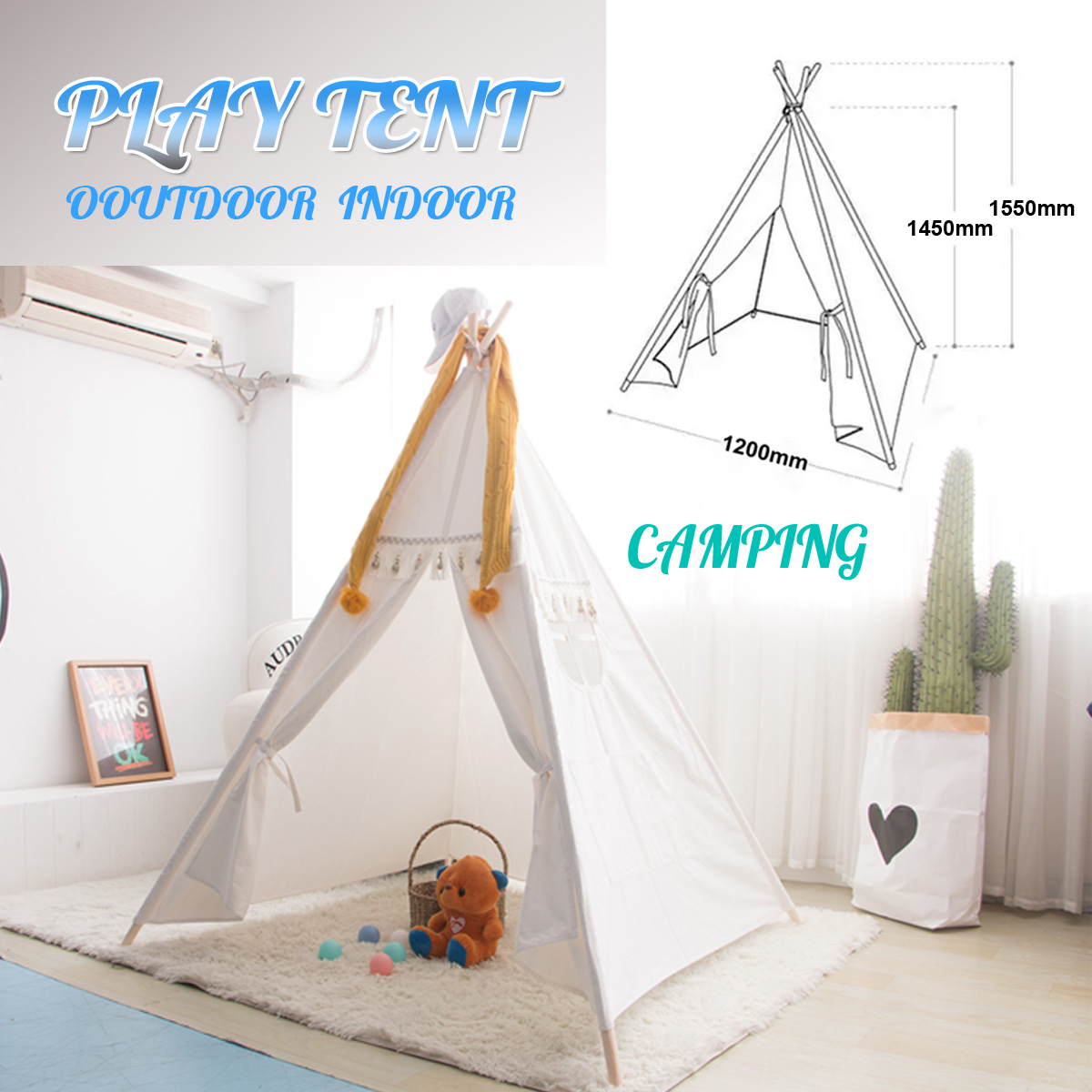 Indian Pet Tent Game House cCotton Indoor Toy House 4 Poles Kids Tent Babys Private Domain Cotton material 120x120x145cm