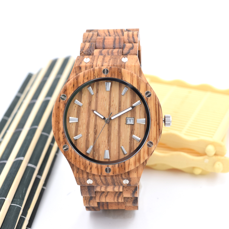 Full zebra Wooden Wristwatch For Men With Wood Watchband Fashion Business Mens Watch In a Gifts Box