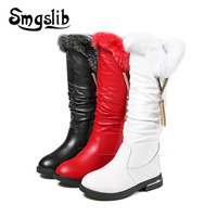 Girl Boots Children Ankle Fur Boots Kids Genuine Leather Girls Real Rabbit Fur Shoes 2018 Winter Child Warm Toddler Sneaker