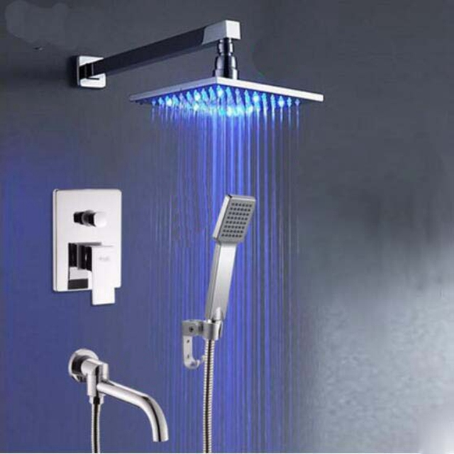 8 10 12 16 LED Square Shower Faucet Wall Mount Tub Spout Hand