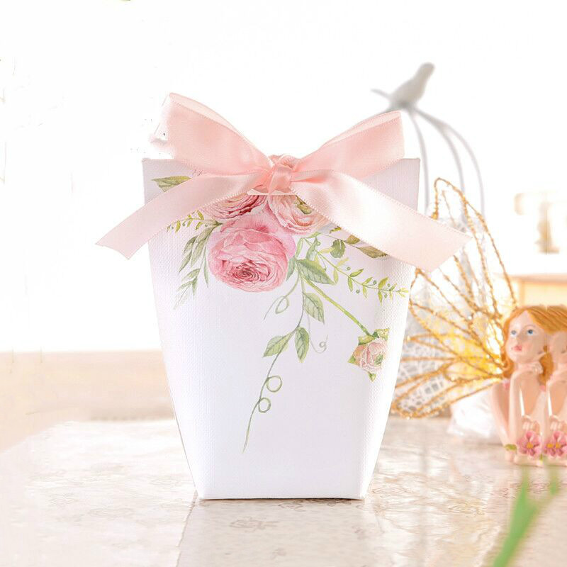 Gold Butterfly Flower Printing Candy Box Bomboniere Wedding Favor