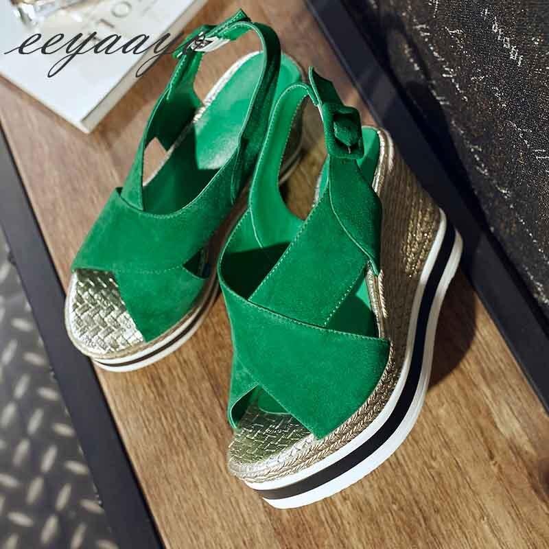 À Décontracté Nouvelle Vert Sandales D'été Cuir Compensées Femmes NXwOk8nP0
