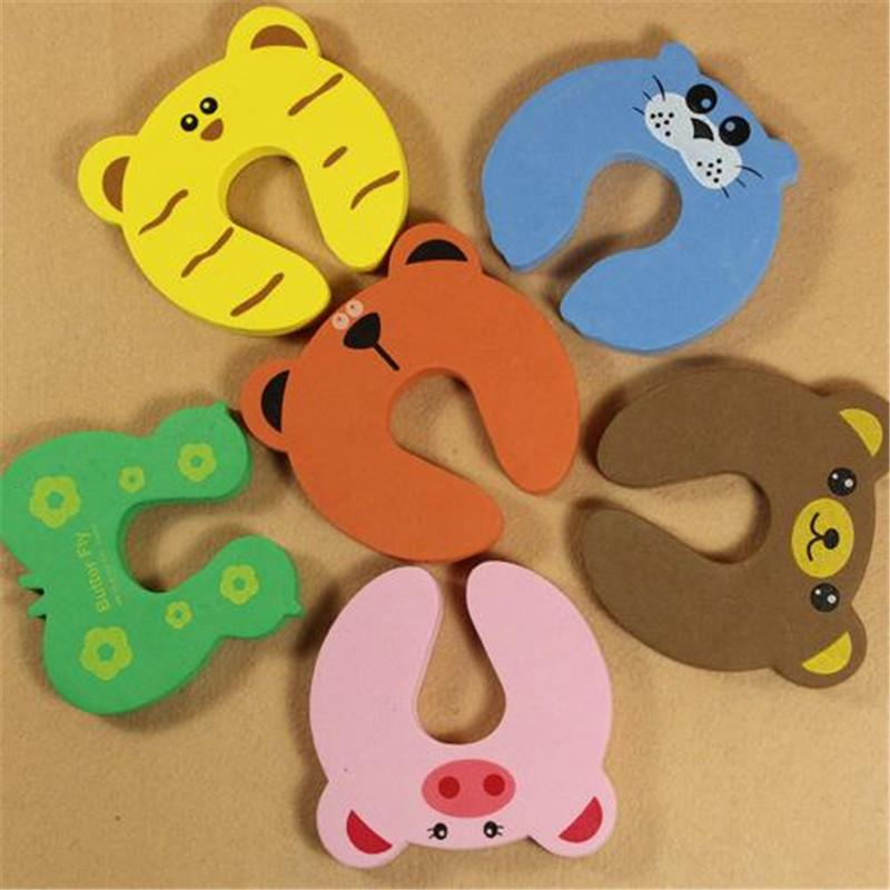 Baby Safety Protect Anti Guard Lock Clip Edge EVA Animal patterns Door clamp Safe Card Door Stopper