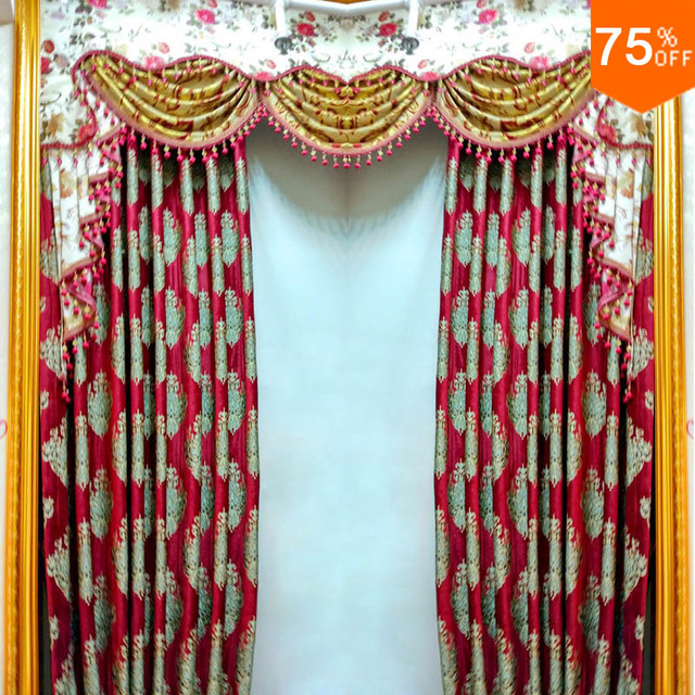 2018 Hotel Red Luxury Entrance Door Room Drapes Black Out Reds Curtains  Baroque Style Euro Style