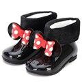 Детские непромокаемые ботинки Mini Melissa  хлопковые двухслойные ботинки с бантом для девочек  зимние ботинки с заклепками по бокам  сохраняющи...