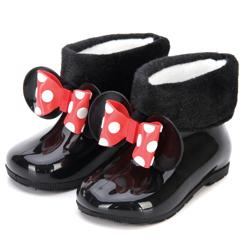 Mini Melissa Kids Rain Boots Cotton Cover Twins Mouse Bow 2 Layer Girls Shoes 2018 New Winter Boot Side Rivets Keep Warmer