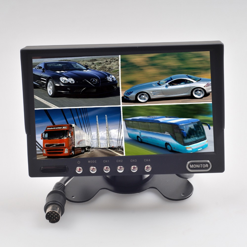 7 Inch LCD Monitor 4CH Split Video Display Screen Truck Rearview Camera Input aputure vs 2 finehd kit lcd screen 7 inch v screen field video monitor with battery