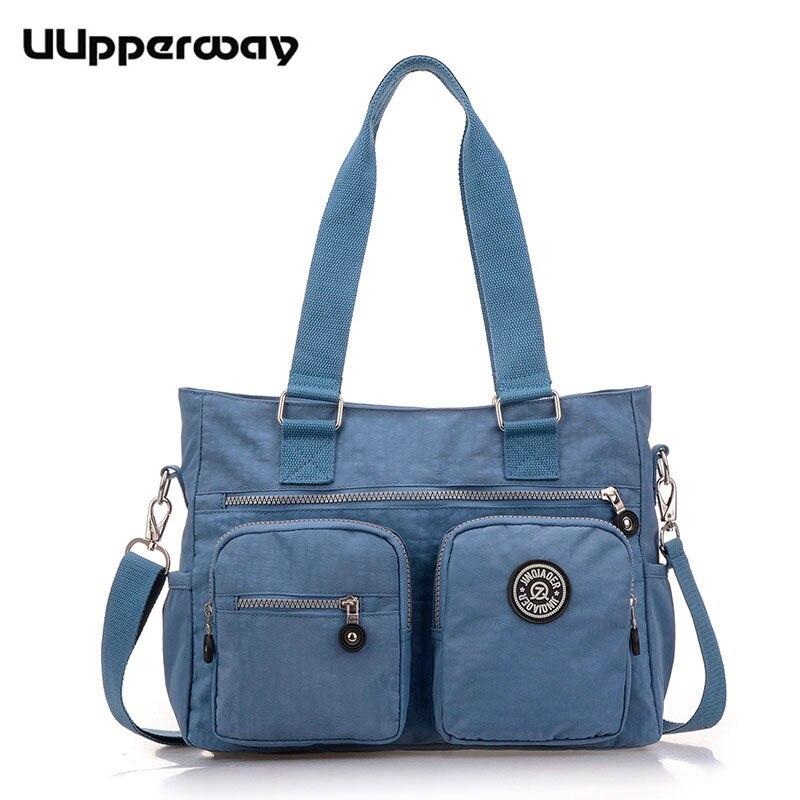 Fashion women nylon handbags Large Capacity single shoulder bag waterproof casual handbag for teenagers girls Black Blue Purple