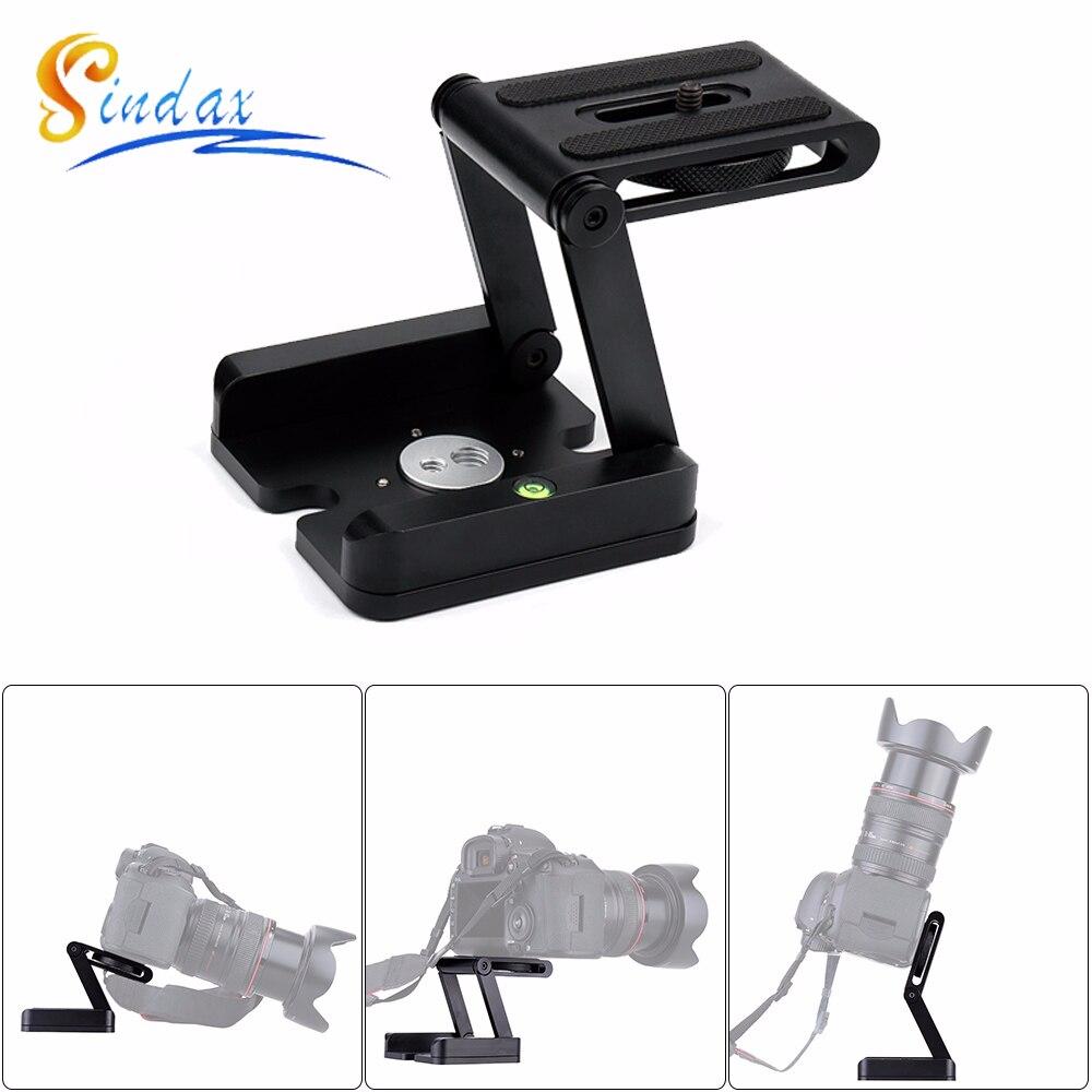 US $10 0 9% OFF Z Flex Tilt Head DSLR Folding Bracket Aluminum Alloy Camera  Stand Holder Quick Release Tripod Plate & Level For Canon-in Tripod Heads