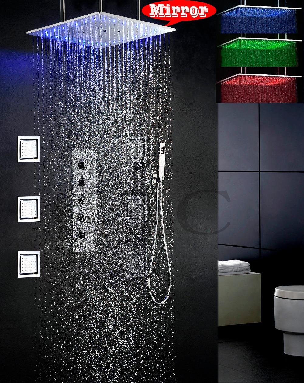 swash and rain bathroom set 20 inch 3 colors led temperature sensitive shower head and 6