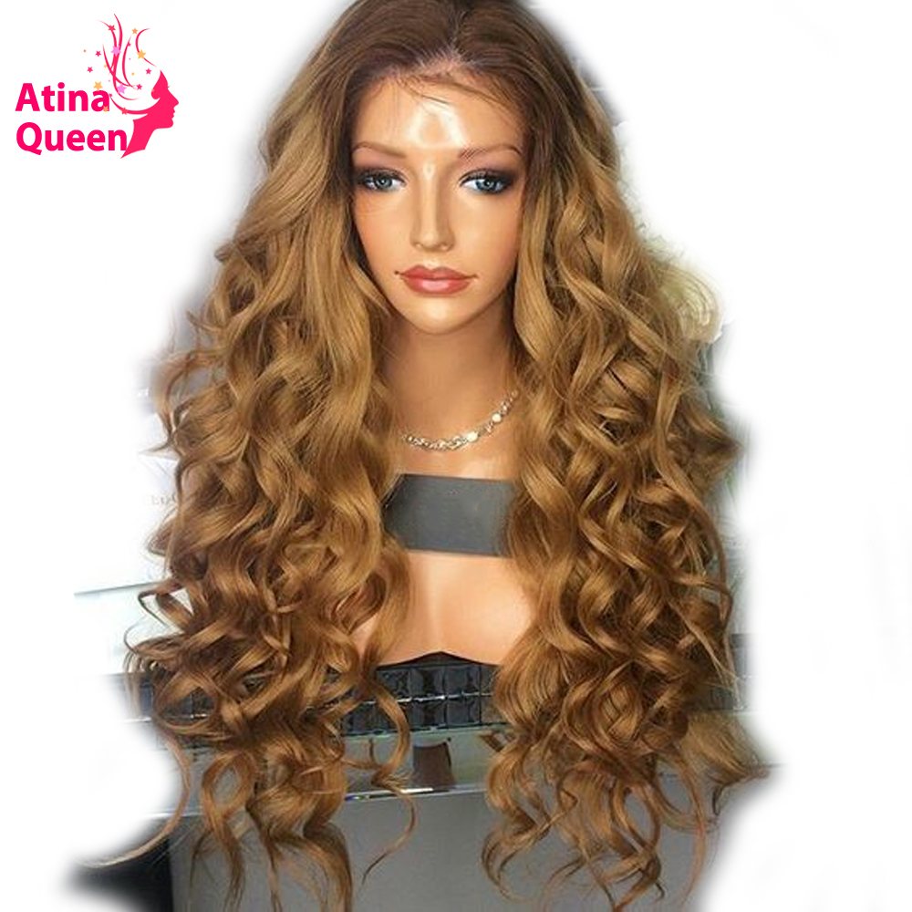 Atina Queen 180 Density Two Tone Lace Front Human Hair Wigs With Baby Hair Remy Ombre