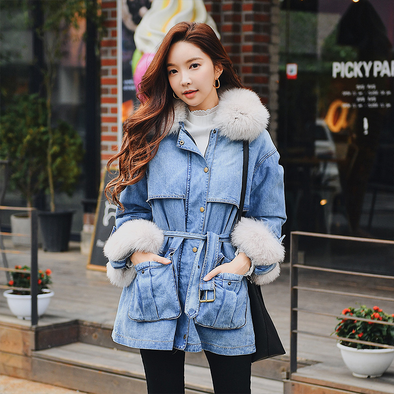 Dabuwawa Winter Fur Collar Denim   Down   Jackets for Women Girls Lady New Fashion Cool Warm Slim Tie Denim   Down     Coats   #D18DDW057