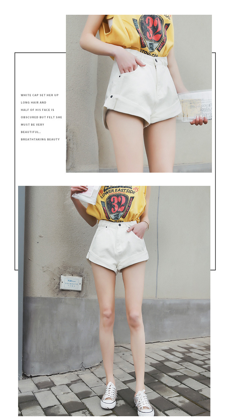 HTB1kZECPjDpK1RjSZFrq6y78VXaF - Streamgirl Denim Shorts Women's White Women Short Jeans Khaki Wide Leg Elastic Waist Vintage High Waist Shorts Women Summer