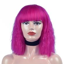 цена Synthetic Wig For Black Women Curly Bob Wigs With Bangs 10inch High Temperature Short Wigs  Purple Pink White Color Wigs