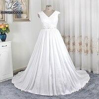 V Neck A Line Taffeta Beading Waistline Plus Size Wedding Dress Lace Up 26W Bridal Dress