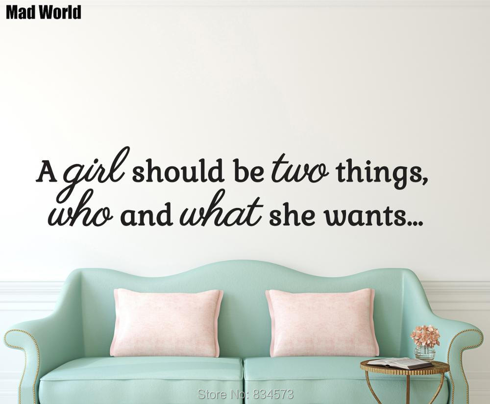 GIRL Woman Inspirational Quote Wall Art Sticker Decal Home DIY Decoration Decor Wall Mural Removable Room Decal Stickers 29x141