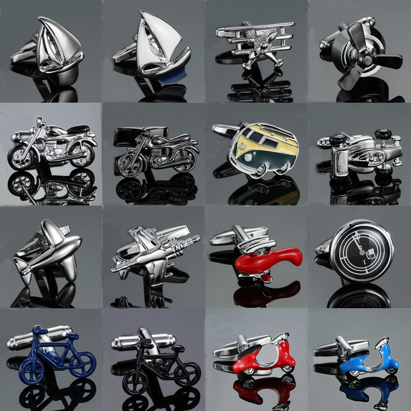 18 style Mix Hotsale Cufflinks Novelty high quality aircraft Sailboat 3D motorcycle Bus design for mans Suit accessories