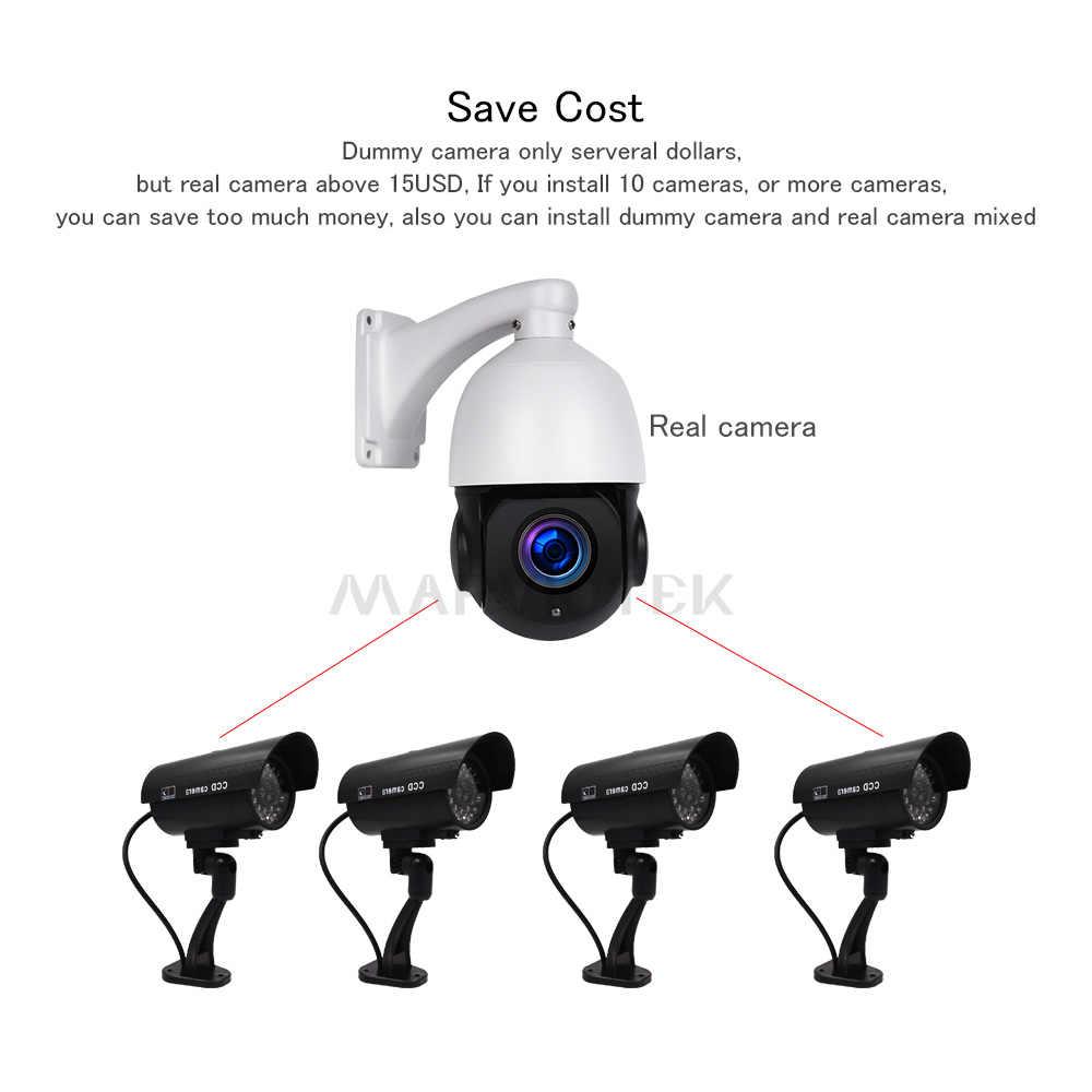 ダミーカメラ防水屋外フェイクカメラホームセキュリティ CCTV カメラビデオ監視カメラ Led ライト屋内