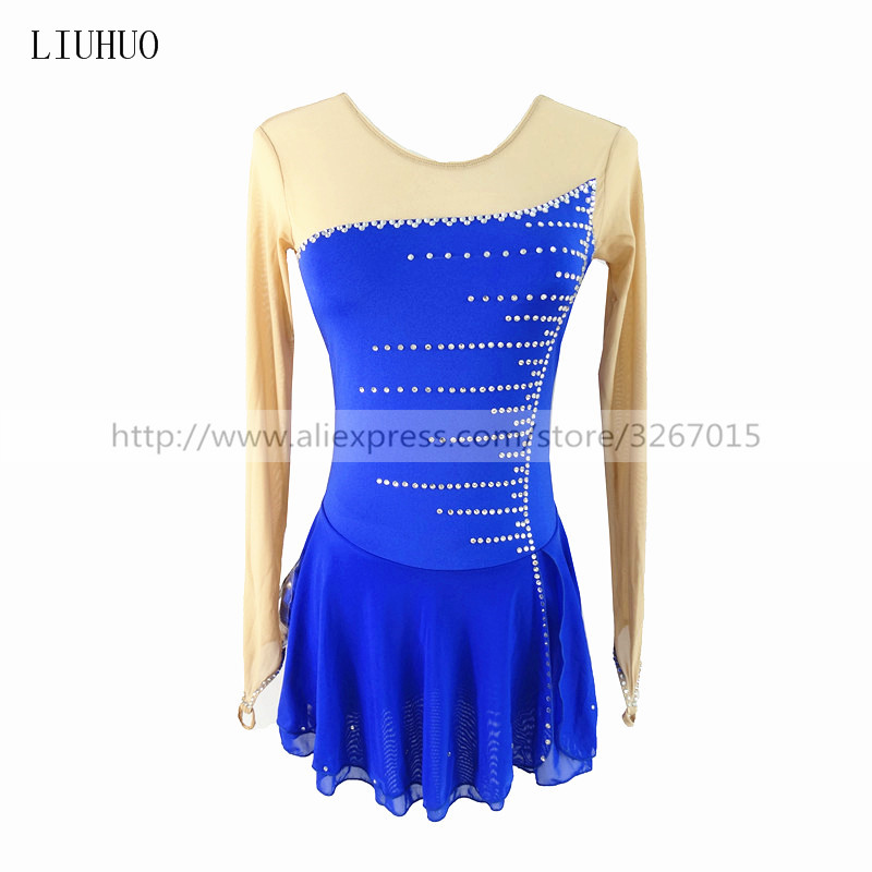 Figure Skating Dress Customized Competition Ice Skating Skirt for Girl Women Blue line pattern rhinestones High elastic fabric