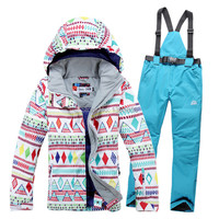 New 2014 Free Shipping Hot Sale Lady Geometric Shape Snowboard Ski Suit Jacket Clothes Sets Pants