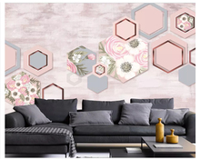 beibehang Custom classic thickening simple wall paper 3D stereo Nordic simple hexagon TV background papel de parede 3d wallpaper