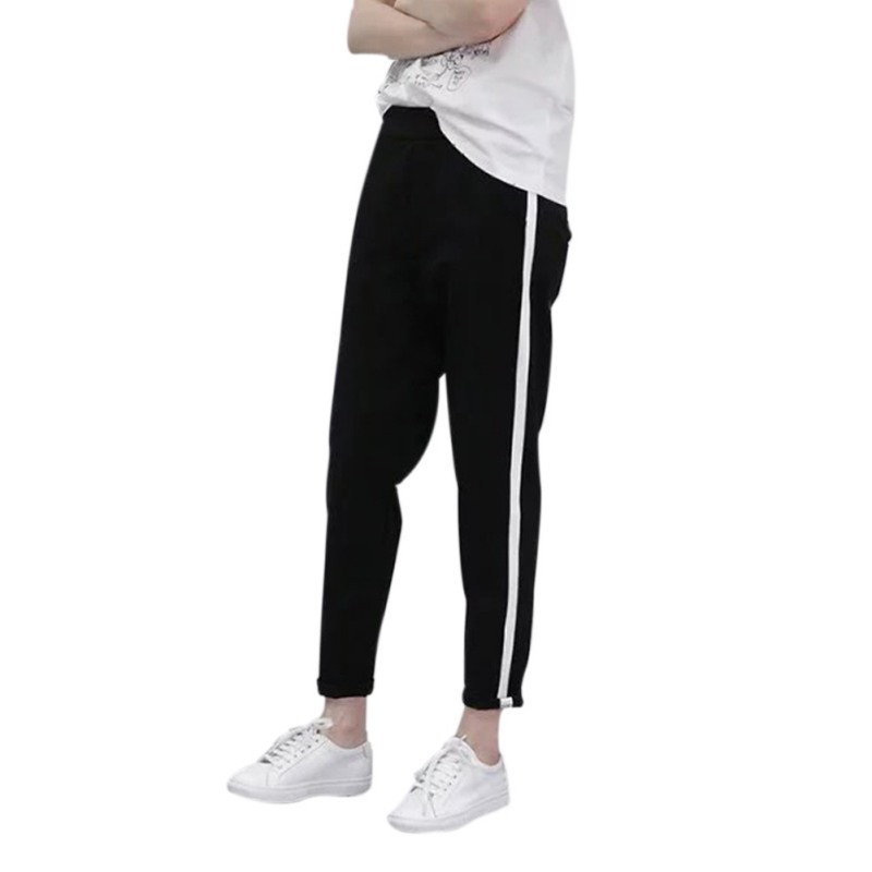 High Waist White Striped Stitching   Wide     Leg     Pants   Trousers Femme Women Casual Silm Black Loose   Pants