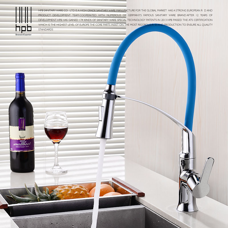 HPB new arrivals water tap pull out kitchen mixer tap for kitchen sink polished chrome black/blue faucet hot cold crane HP4119 black chrome kitchen faucet pull out sink faucets mixer cold and hot kitchen tap single hole water tap torneira
