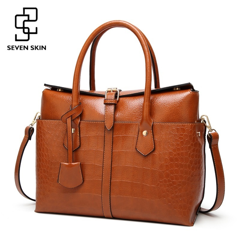 e58706aa496f Семь кожи роскошные дизайнерские для женщин сумка большая сумка Качество  кожа сумки для сумка-мессенджер из крокодиловой кожи
