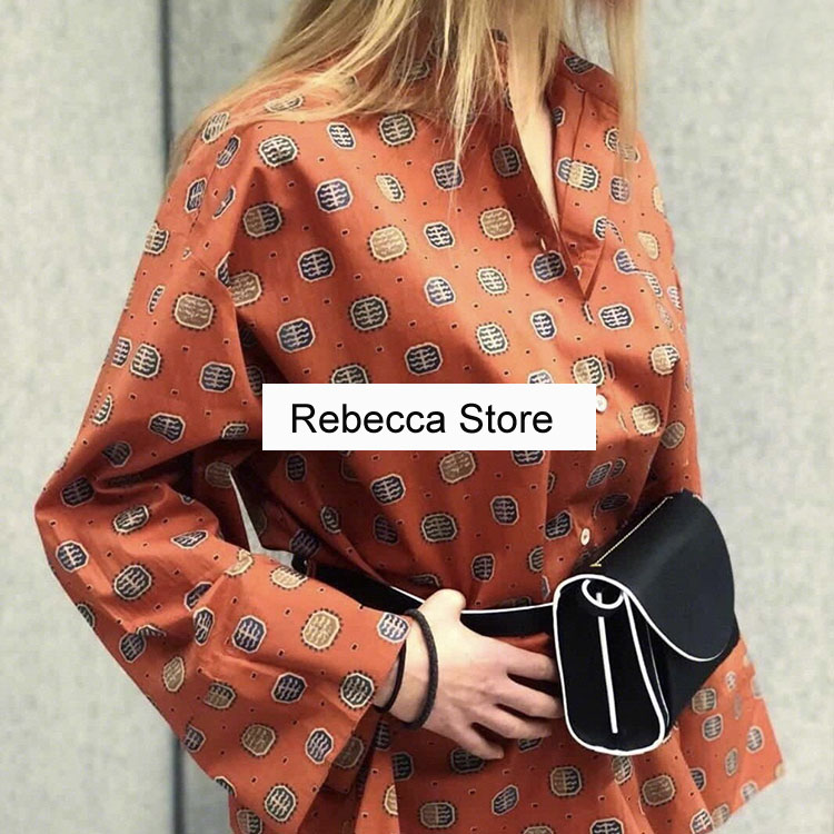 WISHBOP Zahora blouse rust print stand up collar front button wide cropped sleeves Oversized COTTON SHIRT