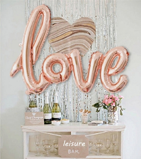 43 inches love letter foil balloon rain fringe curtain background wall wedding valentines party decora balloon