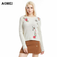 Women Knited Tops Jumper Spring Sweater Pullover O Neck Long Sleeve with Embroidery Solid Casual Fashion Mujer Tops Elegant Lady