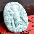Genuine natural Fine bamboo reports peace a Buddism godness  Burma jade Buddism godness  jade pendant with certificate