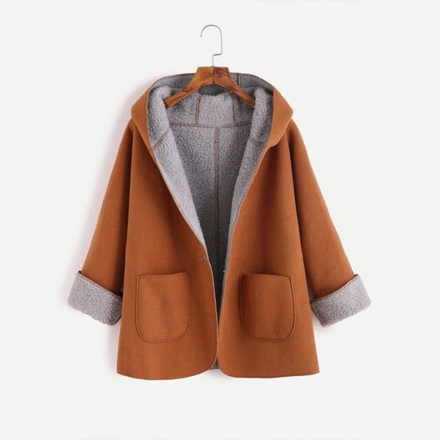 Манжеты рукава с капюшоном из овечьей кожи пальто, шерстяное пальто Для женщин готика с широкой талией с капюшоном со сплошным карманом, Повседневное Pu Коричневое Пальто