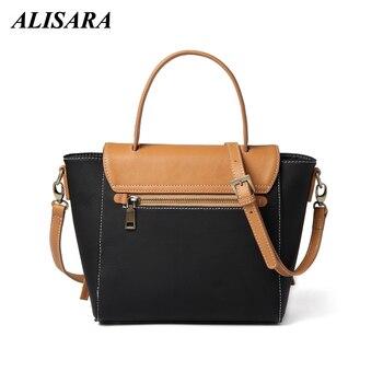 Alisara Women Messenger Bags Microfiber Synthetic leather Panelled Shoulder Bag Lady Handbags Cowhide Crossbody Tote Bags Satche