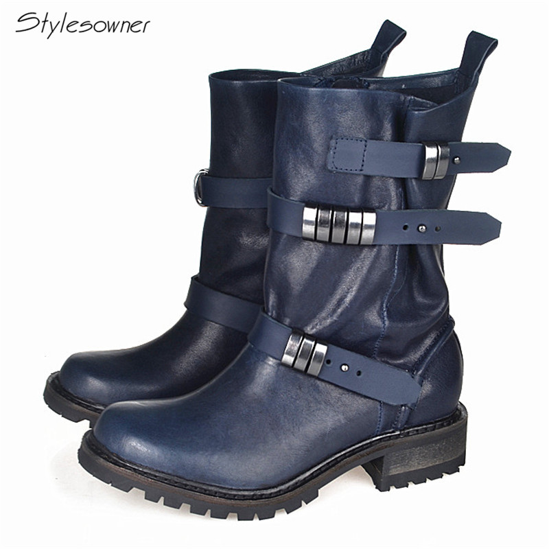 Stylesowner 2018 Top Selling Metal Belt Buckle Western Short Boot Genuine Leather Square Toe Flange Sole Martin Motorcycle Boots все цены