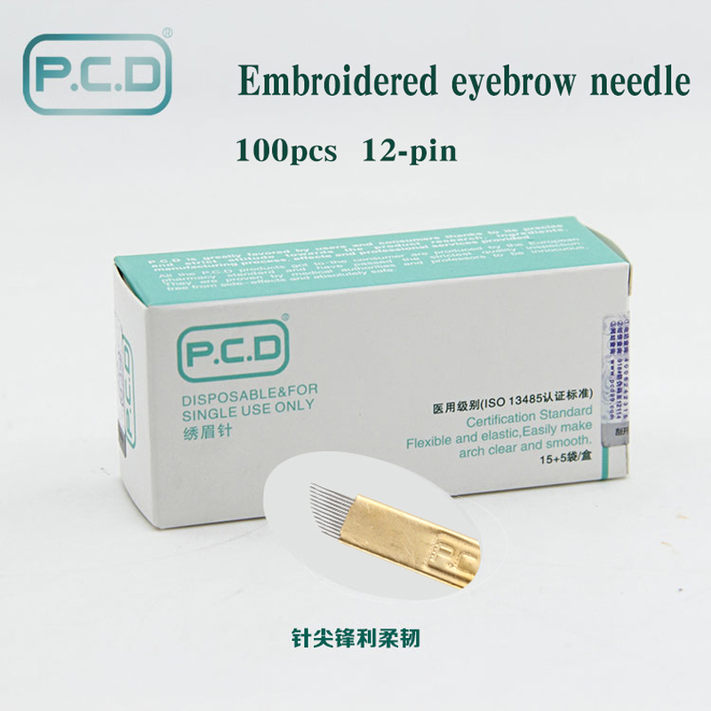 100 pcs PCD 12 Pin Permanent Makeup Eyebrow Tatoo Blade Microblading Needles For 3D Embroidery Manual Tattoo Pen Ma100 pcs PCD 12 Pin Permanent Makeup Eyebrow Tatoo Blade Microblading Needles For 3D Embroidery Manual Tattoo Pen Ma