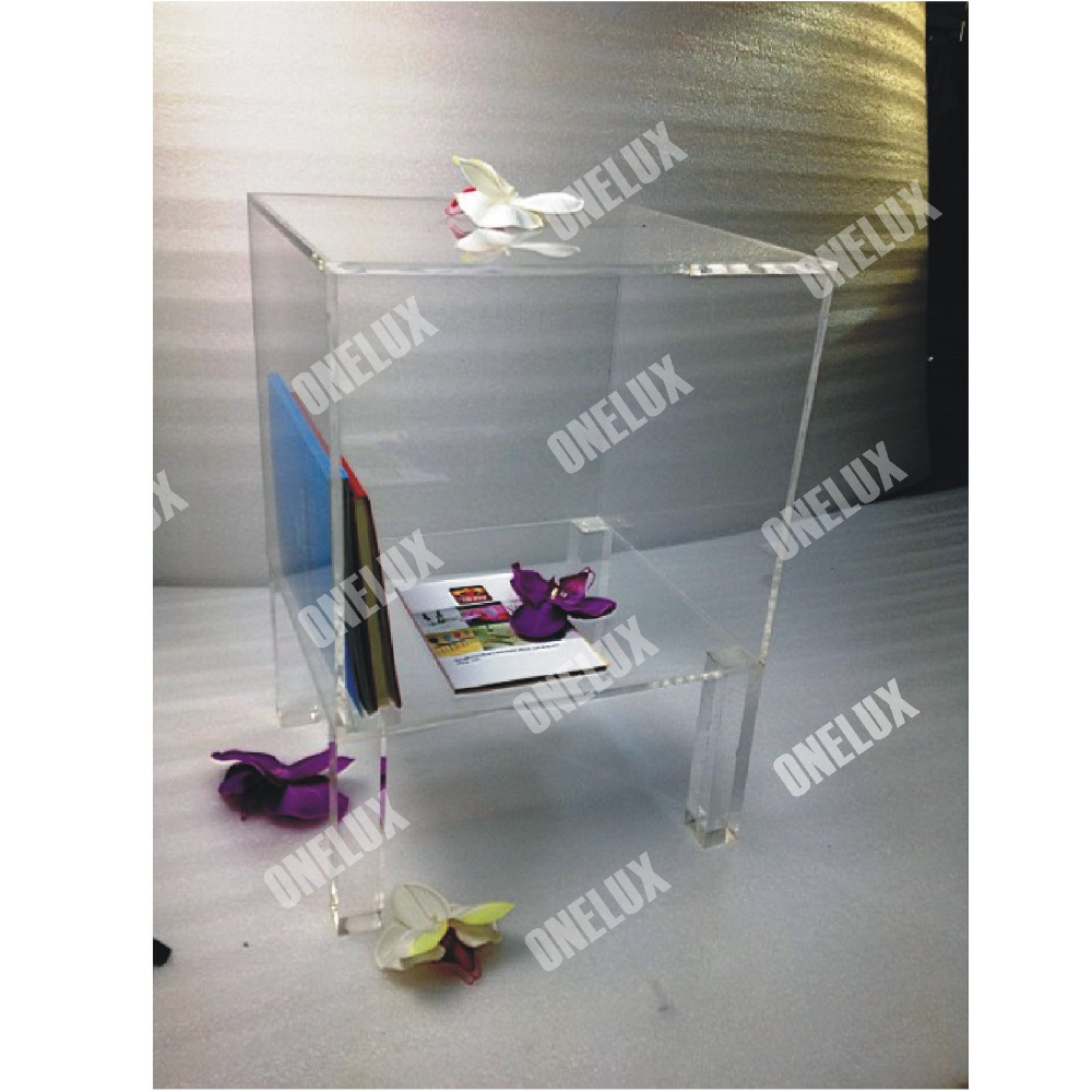 ONE LUX High Transparency Acrylic Lucite Nightstand, Bedside Tables,Perspex Bedroom Cabinets Square Legs