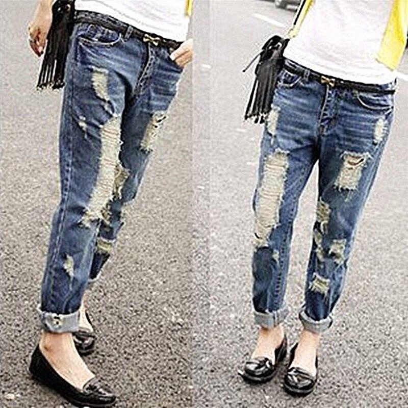 2018 Neue Ankunft Mode Frauen Zerrissene Jeans Freies Verschiffen Persönlichkeit Loch Jeans Damen Hose Dunkelblau Gerade Bein Hosen Sx0453 Fein Verarbeitet