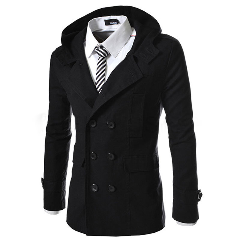 Mens warm trench coat lined hooded Detachable Casual ...   Mens Trench Coat With Hood