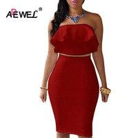 ADEWEL 2 Piece Women Off Shoulder Ruffles Two Piece Dress Sexy Bodycon Club Crop Top Midi