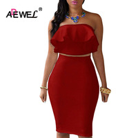 ADEWEL 2 Piece Women Off Shoulder Ruffles Two Piece Dress Sexy Bodycon Club Crop Top Midi