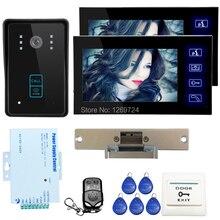 """ENVÍO LIBRE 7 """"Wired Home Video Intercom Teléfono de La Puerta Sistema de 2 Monitores de Cámara + NC huelga Puerta de Acceso RFID Door ELock EN STOCK"""