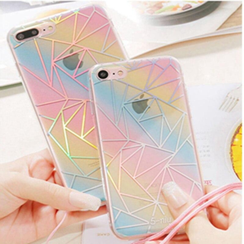 Новые Звезды Тонкий Гальванических ТПУ Красочные Моды Case Для iphone 6 6 Plus 6 splus 7 7 плюс Телефон Случаях Прозрачная Задняя Крышка