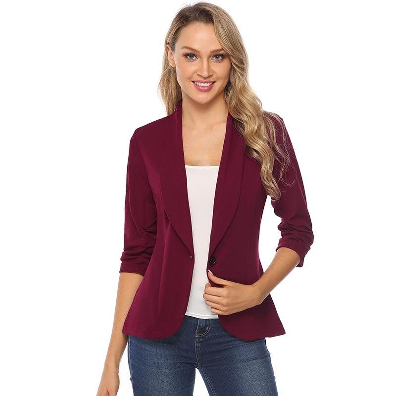 Image 4 - iClosam Women Classic Black Blazer Elegant Solid Color Slim  Jacket Suit 2019 New Fashion Long Sleeve Office Ladies BlazerBlazers