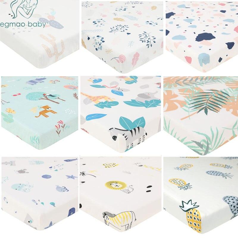 100% Katoen Mooie Patroon Pasgeboren Bebe Bed Crib Sheet Matrashoes Protector Voor Baby Geweven Paddy Hoeslakens (130*70 Cm) Matching In Kleur