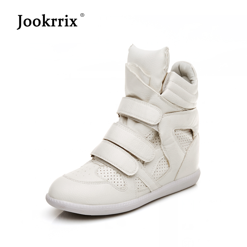 Jookrrix 2018 New Fashion Brand Chaussure Girl White Shoes Women Sneaker Lady Leisure Shoes Youth Heighten Hook&Loop Breathable