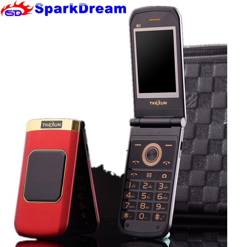 TKEXUN M3 Flip Téléphone 2.4 Double Double Écran Dual Sim Caméra MP3 MP4 Tactile Écran De Téléphone portable de Luxe