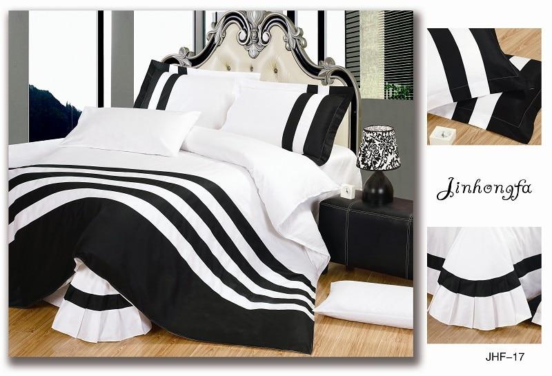 black and white stripe bedding set queen king size 4pcs pure color duvet quilt cover bed linen. Black Bedroom Furniture Sets. Home Design Ideas