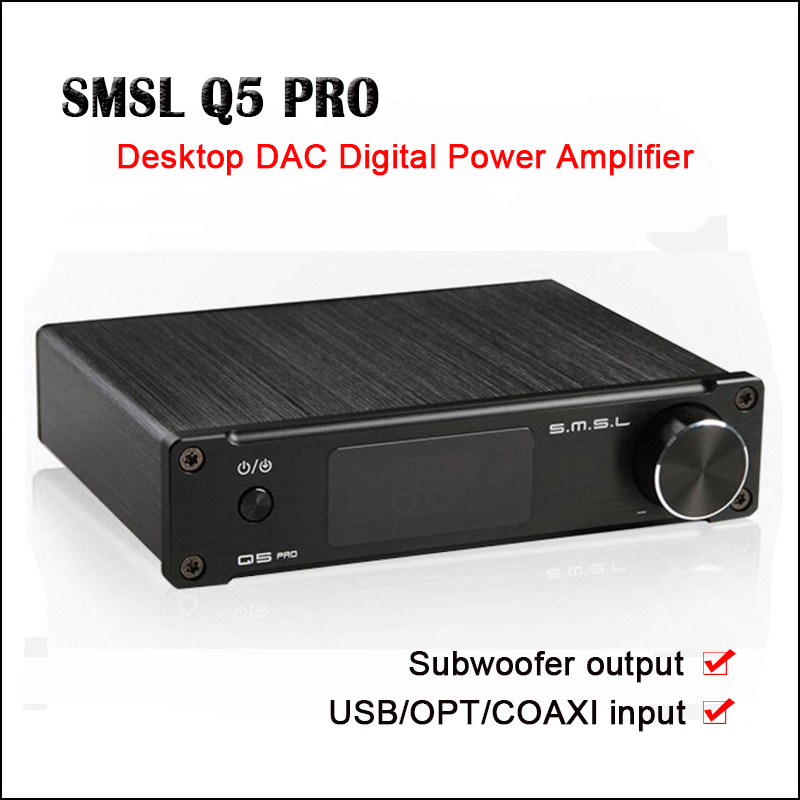 SMSL Q5 Pro USB DAC Amp Hifi Pure Digital Amplificatore di potenza Audio Mini Amplificatori portatili Uscita subwoofer Preamplificatore amplificatore