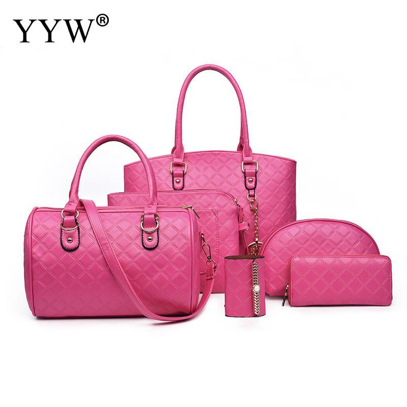 European and American style Luxury Ladies Composite Bag PU Leather Women Shoulder bags 6 set Female handbag
